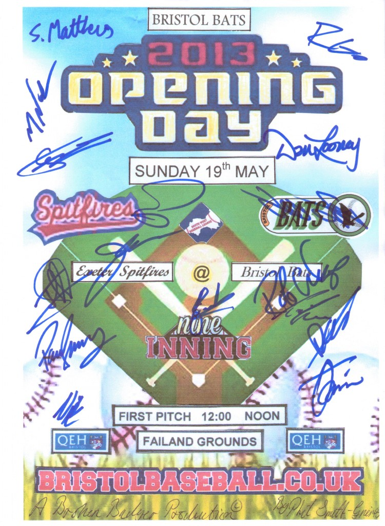 2013 Opening Day poster with player's autographs